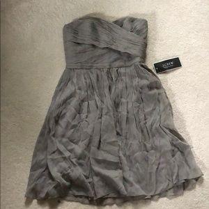 J crew gray chiffon dress